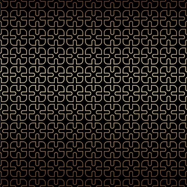 Simple geometric golden and black linear seamless pattern background, art deco style