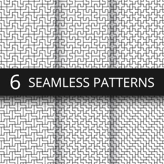 Simple geometric vector abstract seamless patterns. monochrome geometrical wallpaper repeating prints