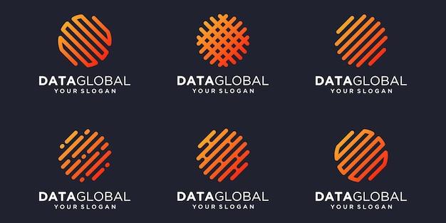 Simple global digital icon set, global combined element digital or data. logo design template