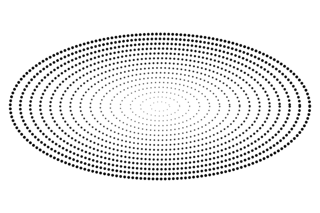Simple gradual vector black and white oval halftone isolated on white