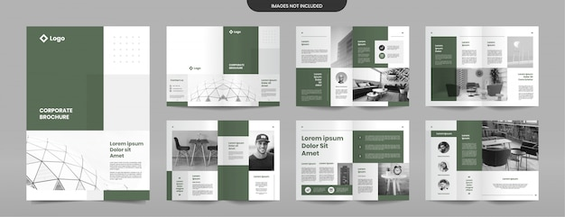 Simple green brochure pages design template