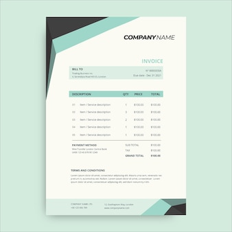 Simple green and dark technology invoice