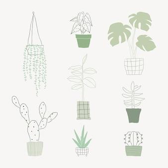 Простой зеленый комнатное растение каракули векторный набор