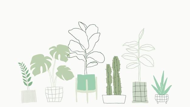 간단한 녹색 관엽 식물 벡터 낙서
