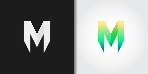 Simple green letter m logo