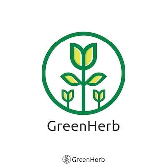간단한 녹색 나무 로고. 유기농 허브 로고 개념입니다. 벡터 일러스트 레이 션.