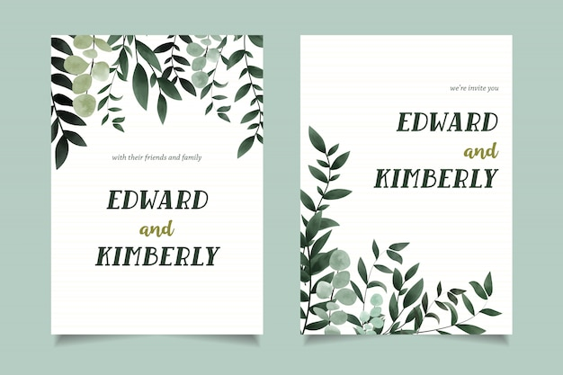 Simple green watercolor invitation card template design