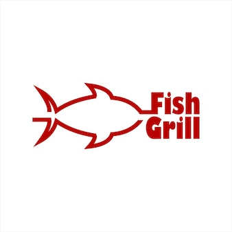 간단한 그릴 생선 레스토랑 로고 템플릿