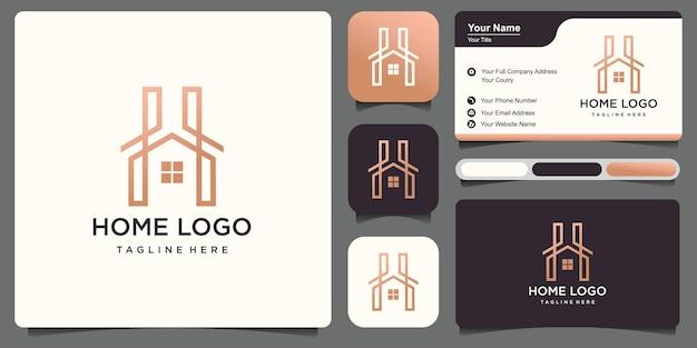 Simple h letter house logo with business card .logo design premium vector