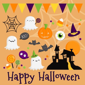 Simple halloween vector set