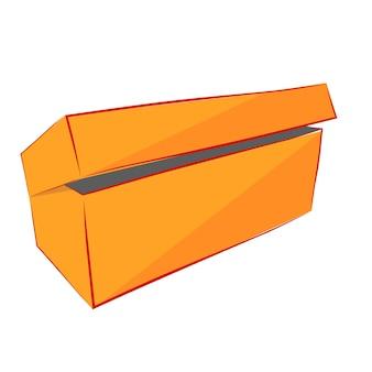 シンプルな手描きスケッチベクトルモックアップオレンジ靴ボックス、白で隔離