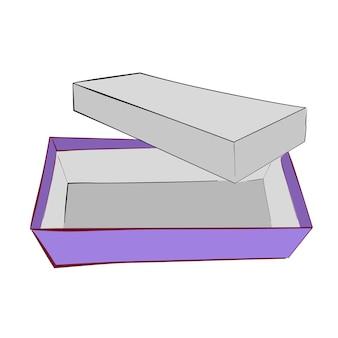 シンプルな手描きスケッチベクトルテンプレートまたはモックアップ紫靴ボックス、白で隔離