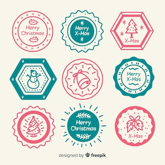 Simple hand drawn christmas stamps colllection