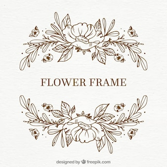 Simple hand drawn floral frame