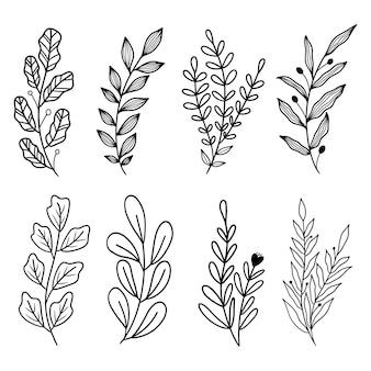 Простые рисованной линии искусства листьев клипарт векторная коллекция