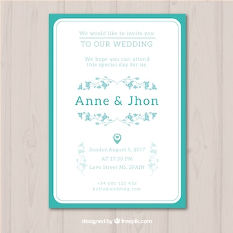 Simple hand drawn wedding invitation with a blue frame