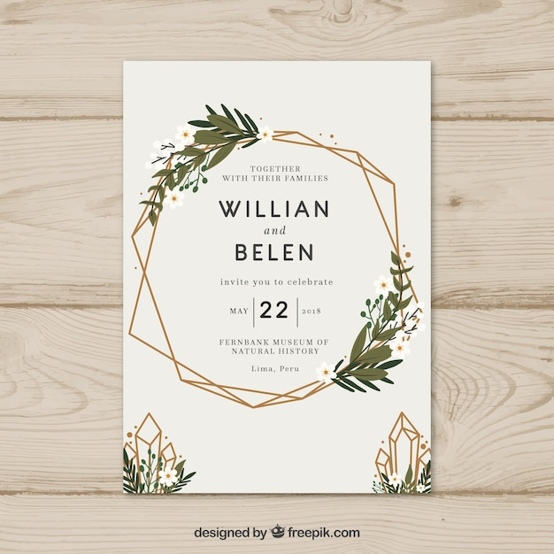 Charming Simple Hand Drawn Wedding Invitation With A Wreath