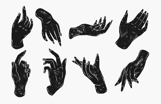 スタンプシルエットスタイルのシンプルな手のイラスト。手描きビンテージアートワークロゴアイコン。ネイルサロン、マニキュア、美容師のロゴ。女性らしいエレガントな手と指、魔法の呪文、手の形