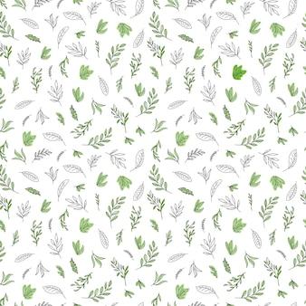 Simple hand painted line art  leaves seamless pattern
