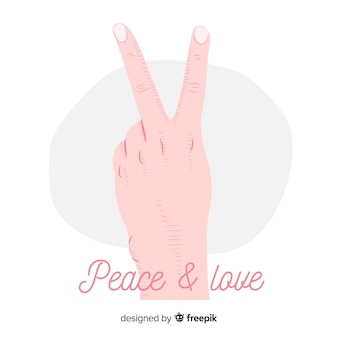 Simple hand peace sign background