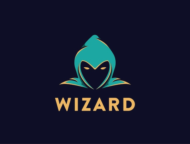 Simple head of wizard logo template on black