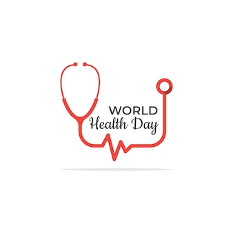 Simple health day logo template with stethoscope