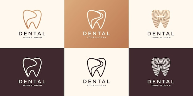 Simple health dent logo design vector template linear style. dental clinic logotype concept icon.