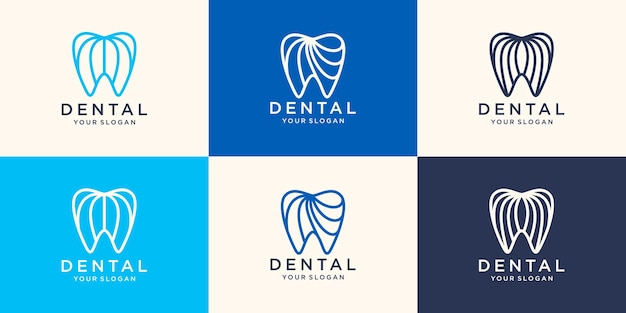 シンプルな健康へこみロゴデザインベクトルテンプレート線形スタイル。歯科医院のロゴタイプの概念アイコン。