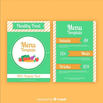 Simple healthy menu template