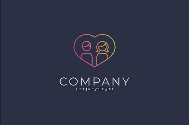 Simple heart couple vector icon logo template