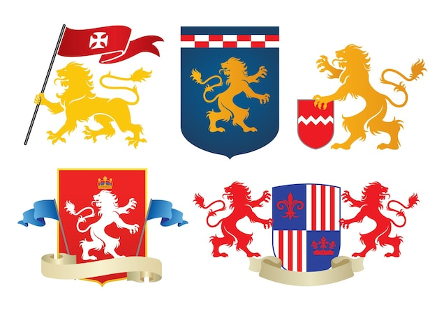 Simple heraldic lion set