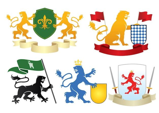 Simple heraldic tiger set