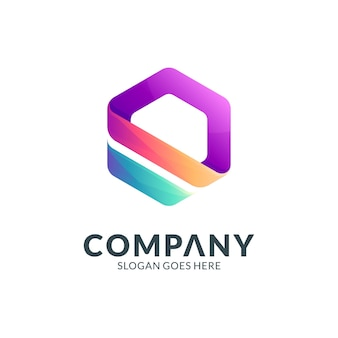 シンプルな六角形のビジネスロゴテンプレート