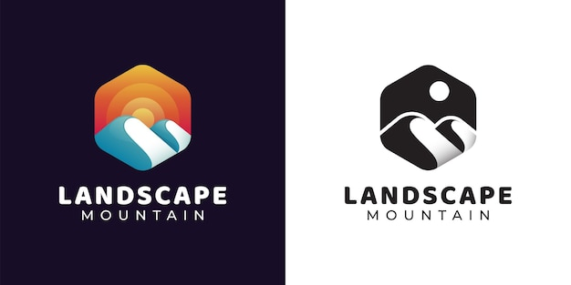 Simple hexagon logo on mountain adventure and sun, landscape hills logo design with black and white versions