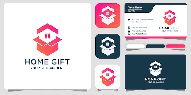 Simple home box or gift home. logo design premium vector