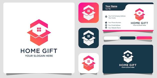 간단한 집 상자 또는 선물 집. 로고 디자인 프리미엄 벡터