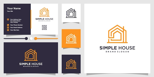 Simple home logo template with line art concept and business card design