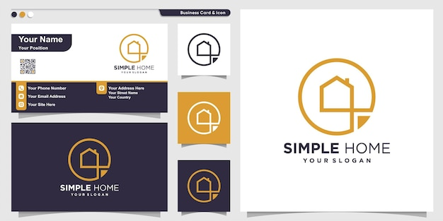 Simple home logo with modern line art style premium vector