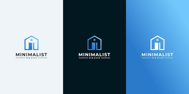 Simple home logo with outline style and business card design, home, real estate, line art, outline