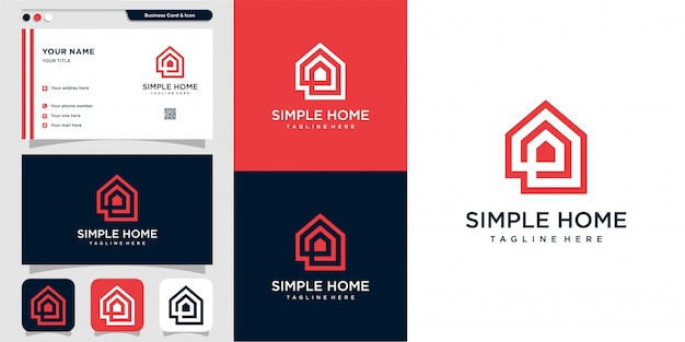 Simple home logo with outline style and business card design, home, real estate, line art, outline,