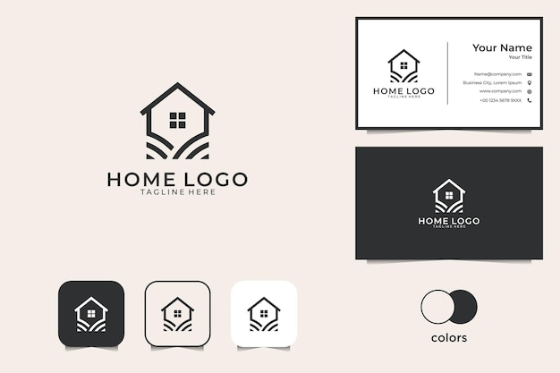 Simple home with line art style inspiration logo design and business card