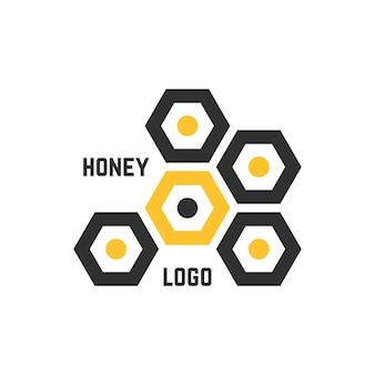 シンプルなハニカム抽象的なロゴタイプ。蜂蜜のエンブレム、プロモーション、シロップ、液体の甘さ、ネクターの概念。白い背景で隔離。フラットスタイルトレンドモダンブランドデザインベクトルイラスト