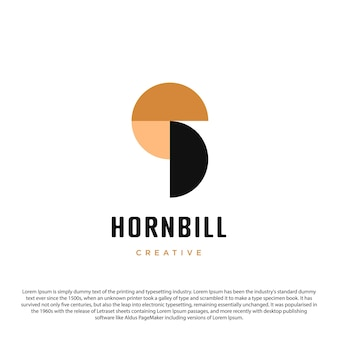 あなたのビジネスや他の人のためのシンプルなサイチョウのロゴデザイン3サークルロゴ