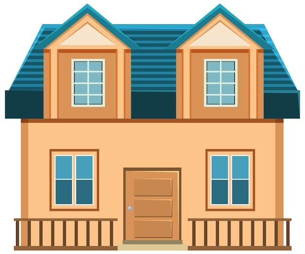 白い背景の上のシンプルな家の外観