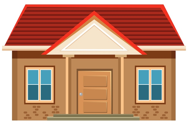 Simple house exterior on white background