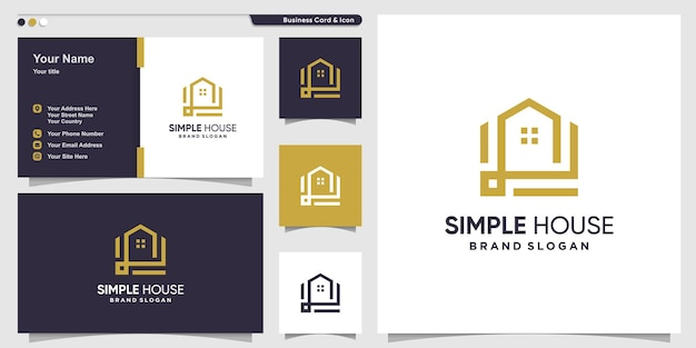 Simple house logo concept with creative line art style premium vector