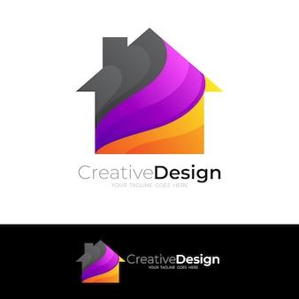 シンプルな家のロゴのテンプレート3dカラフルなスタイル