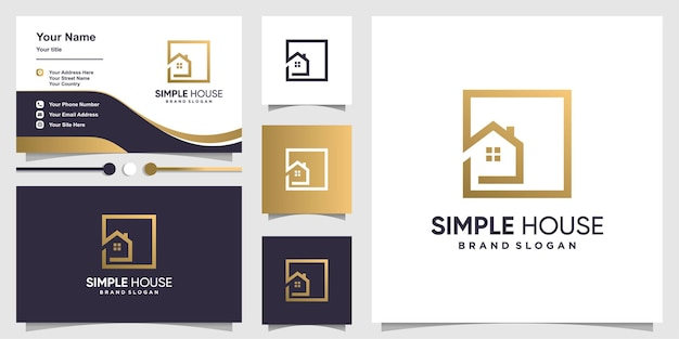 Simple house logo with creative modern outline concept and business card template