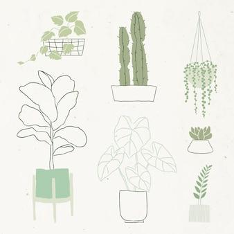 シンプルな観葉植物落書きベクトルセット