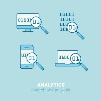 Простой набор значков концепции тонкой линейки векторных векторов google analytics